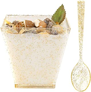 WDF 8oz Gold Glitter Medium Large Plastic Dessert Cups With Spoons-51 Disposable Square Plastic Cups & 51 Gold Glitter Tasting Spoons