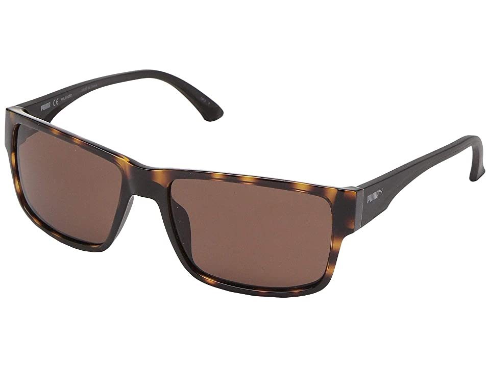 PUMA PU0015SA (Avana/Black/Brown) Sport Sunglasses
