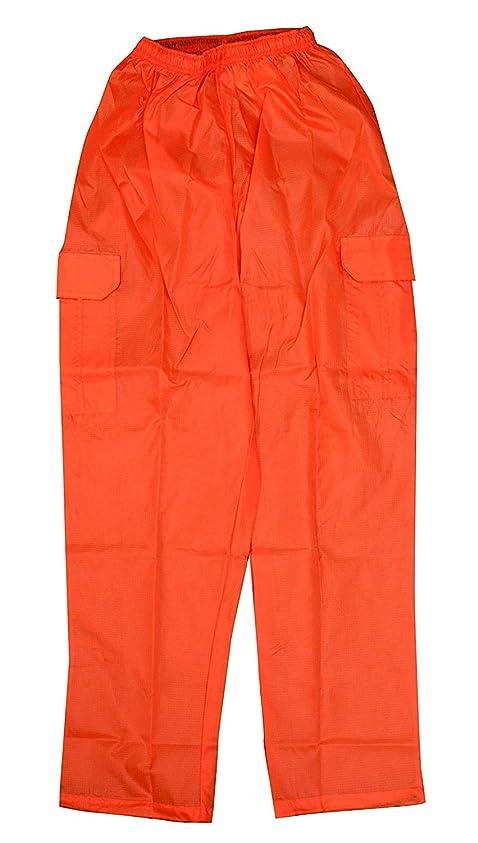 おびえた炎上モール福徳産業 レインパンツ オレンジ 総丈: 116cm、股上: 37cm、股下: 80cm、腰回り(MAX/ゴム上り): 126cm/68cm、渡巾: 42cm RSA-05