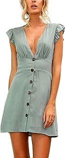 Womens Sexy Deep V Neck Short Sleeve Button T Shirt Mini Dress
