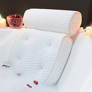AEROiVi Bathtub Pillow Headrest Bath Pillows for Tub Neck and Back Support with Non Slip Suction Cups Spa Bath Cushion