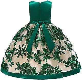 Toddler Little/Big Girls Dresses Floral Print Tie Knot Back Birthday Party Wedding Dress