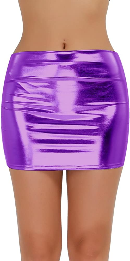 TSSOE Women's Shiny Metallic Slim Mini Skirt Bodycon Pencil Skirts Night Out Clubwear