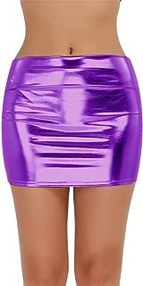 Women's Shiny Metallic Liquid Bodycon Pencil Skirts Sexy Short PU Skirts