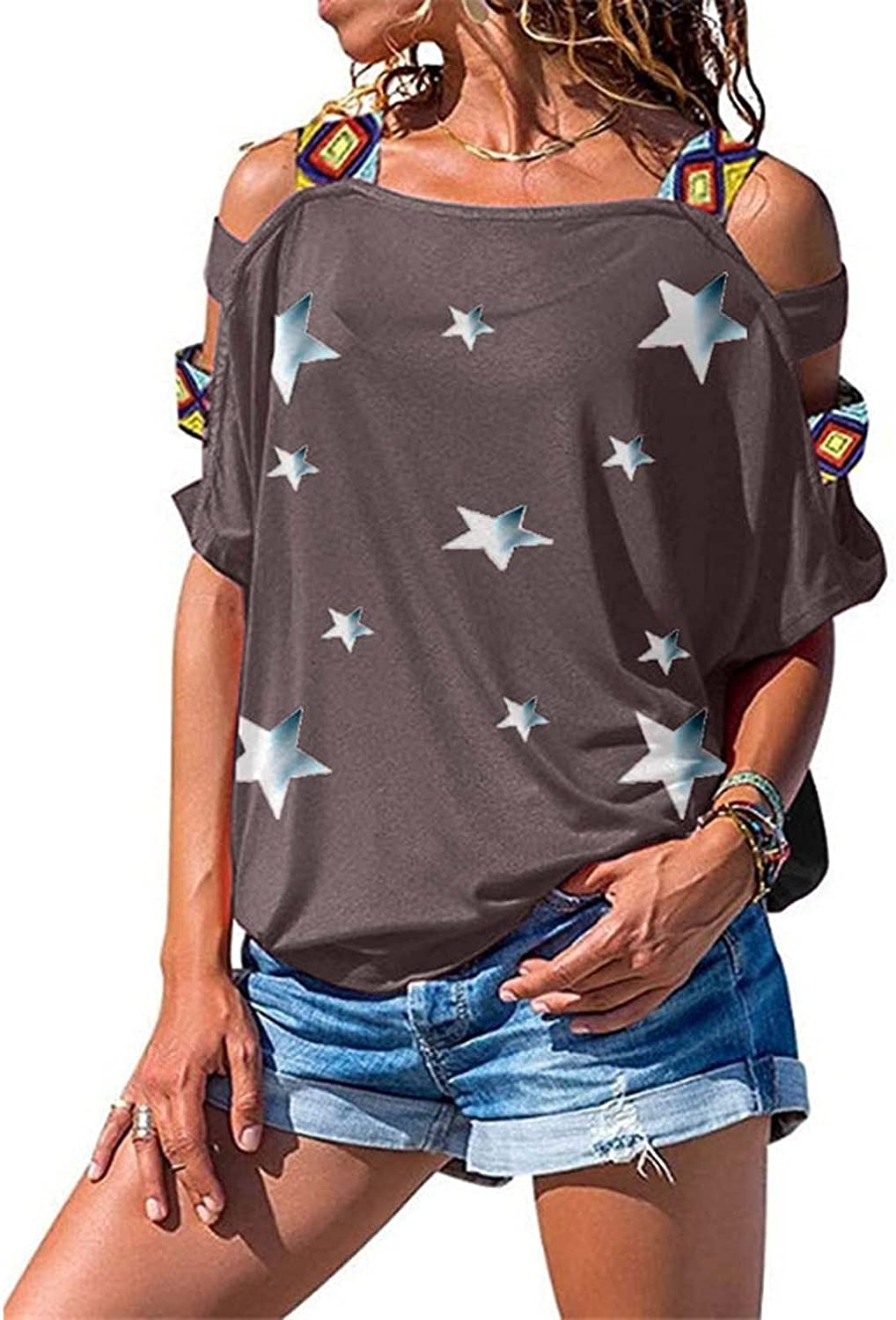 iQKA Women's Cold Shoulder Tops Star Print Graphic Shirt HollowOut Sleeve Strappy T-Shirt Camisole Blouse