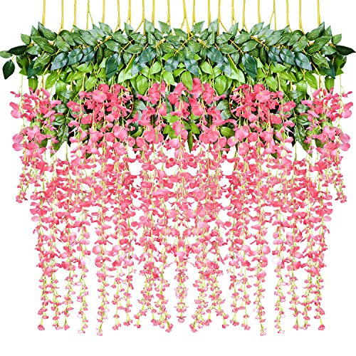 DearHouse 12 Pack 1 Piece 3.6 Feet Artificial Fake Wisteria Vine Ratta Hanging Garland Silk Flowers String Home Party Wedding Decor (Pink)