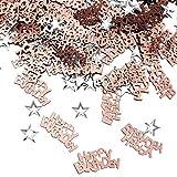iZoeL Confettis Rose Or Happy Birthday 240pcs + Argent étoile 350pcs Décoration de Table (Or Rose)