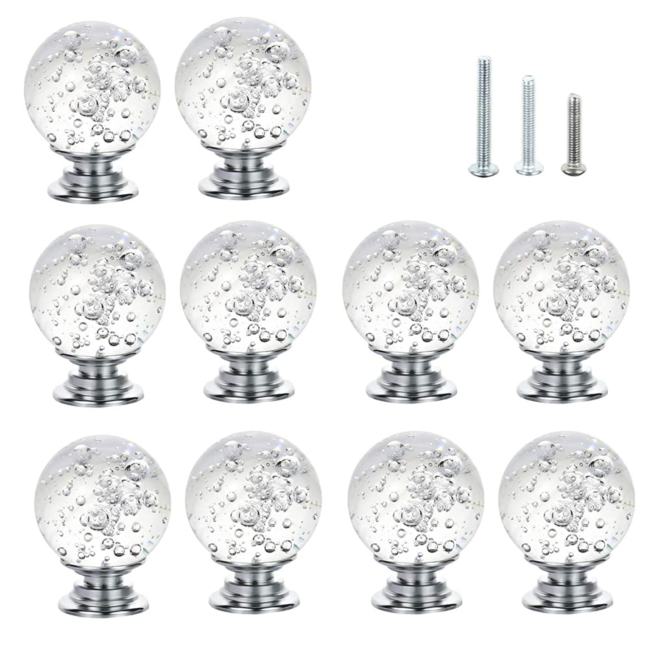IFOLAINA 10 Pcs Crystal Cabinet Knobs Round Glass Kitchen Cupboard Drawer Dresser Bookcase Pull Handle with 3 Size Screws