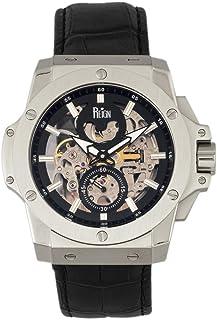 Reign - Commodus REIRN4002 - Reloj automático con correa de piel, color plateado y negro, talla única