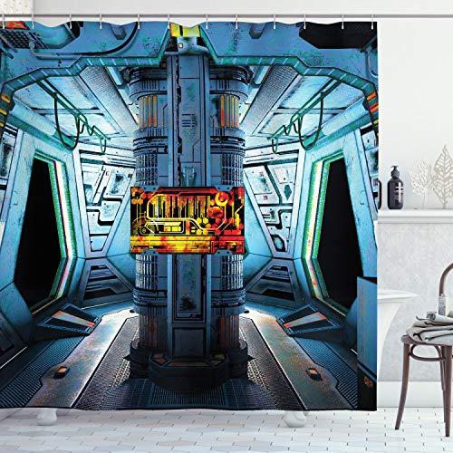 ABAKUHAUS Duschvorhang, Space Ship Schiff Station Base Kontrollraum Technologieelementen Features Bild Digital Druck, Blickdicht aus Stoff inkl. 12 Ringe für Das Badezimmer Waschbar, 175 X 200 cm