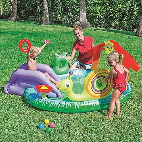 LGLE Piscina inflable con tobogán, piscina inflable al aire libre, rociador de agua para piscina, juguete de agua para verano, exterior, jardín, playa, 211 × 155 × 81 cm,