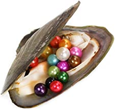 1PC Monster Oyster Freshwater Cultured with 10 Mix Color Round Love Wish Pearls Inside 10 Colors (7-8mm), Valentines Mothers Day Birthday Gifts Pearl Wedding Party (total 10 Pearls)