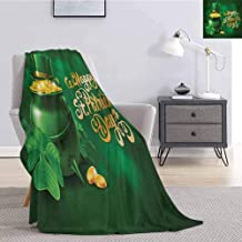 Luoiaax St. Patricks Day Bedding Microfiber Blanket Large Pot of Gold Leprechaun Hat and Shamrocks Greetings 17th March Super Soft and Comfortable Luxury Bed Blanket W70 x L70 Inch Gold and Emerald