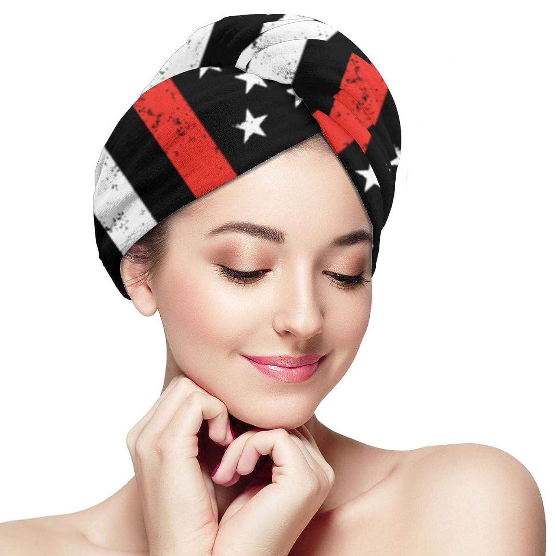 中央から聞く投げるヘアドライヤタオルアメリカ国旗ラップターバンバスシャワーヘッドタオルボタン付きドライヤー帽子女性用吸収性帽子長いハンズフリーヘア用アンチフリズ