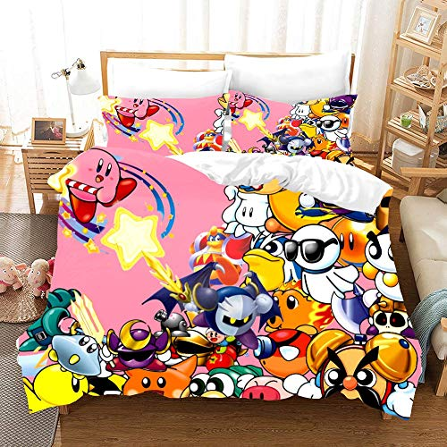 Duvet Cover Sets 3D Kirby Printing Cartoon Bedding Set With Zipper Closure 100% Polyester Gift Duvet Cover 3 Pieces Set With 2 Pillowcases A-AU Queen83'*83'(210 * 210cm)