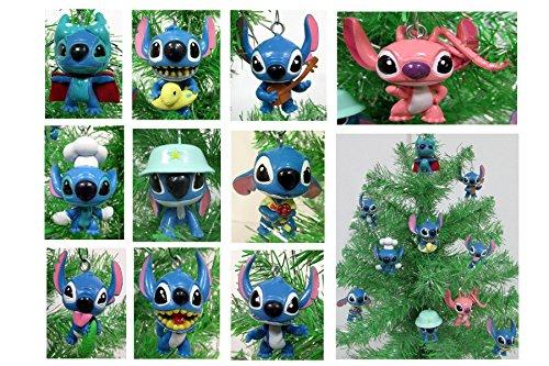 Lilo and Stitch Mini Christmas Tree Ornament Set - 2.5' Plastic Shatterproof Ornaments