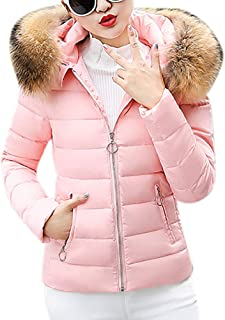 Funnygals - Ladies Down Jackets Quilted Padded Puffer Bubble Fur Collar Warm Thick Slim Fit Womens Jacket Outwear Coat
