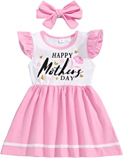 Hipealy Infant Toddler Baby Girl Father's Day Outftit Newborn Baby Girl Slelveless Dress Summer Clothes