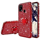 Misstars Glitzer Hülle für Galaxy M30s Rot, Bling Strass Diamant Weiche TPU Silikon Handyhülle Anti-Rutsch Kratzfest Schutzhülle mit 360 Grad Ring Ständer für Samsung Galaxy M30s/M21