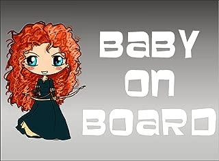 Merida Baby on Board vehicle decal, Brave Disney Princess window sticker graphics