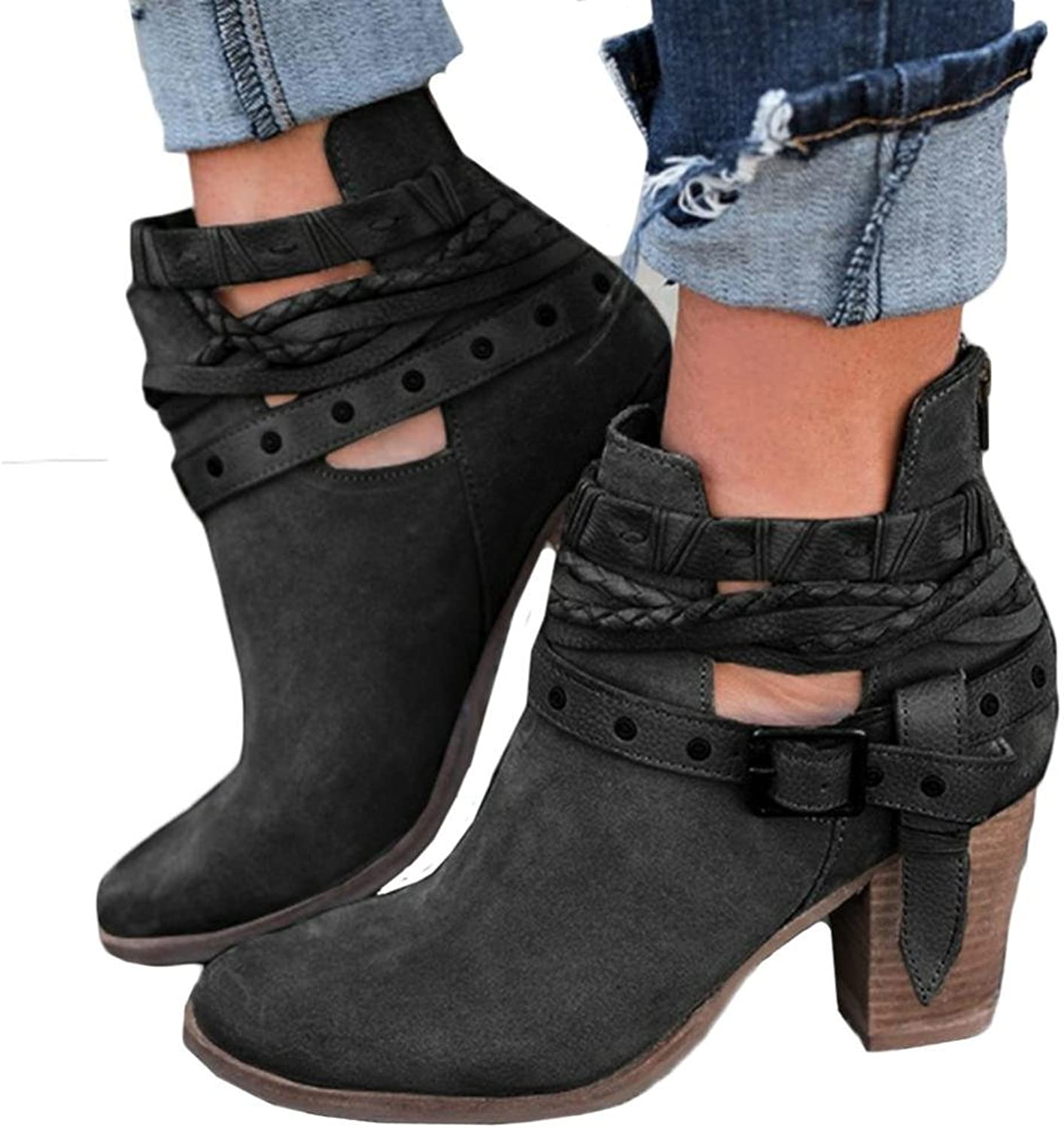 Fheaven (TM) Women Autumn shoes Wedding Sexy Rivet Buckled Strap Ankle Boot Chunky Heel Boots