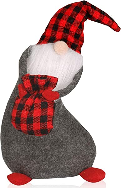 D FantiX Swedish Tomte Gnomes Mr Santa Scandinavian Gnomes Figurines With Red Knit Hat Handmade Christmas Decoration Table Ornaments Standing Home Decor Desktop Collectible Dolls
