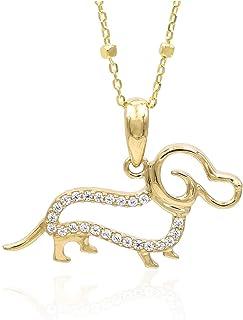 Tala | Collana da Donna in Oro Giallo e Zirconi 14K | Cane Bassotto | Lunghezza 50 cm | Peso gr 3.10