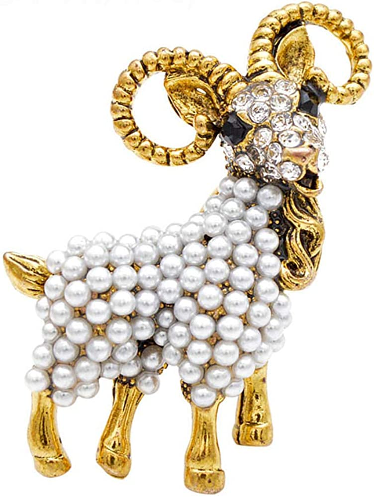 Powerwin Pearl Goat Brooch Vintage Fashion Unisex Animal Pin Fashion Autumn Coat Brooches Women and Men Jewelry Good Gift