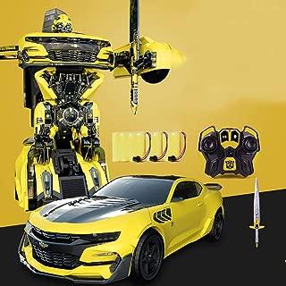 男の子モデルハンドリモコン車トランスフォーマーロボットボイスコントロール誘導玩具メカ子供の日1歳の誕生日6歳黄色