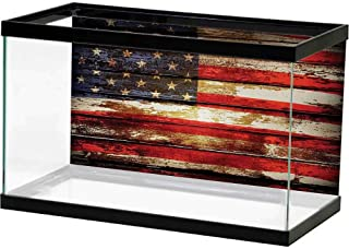 bybyhome 3D Aquarium Background American Flag,Us Symbolism Over Old Rusty Tones Weathered Vintage Social Plank Artwork,Multicolor Double-Sided Adhesive Wallpaper