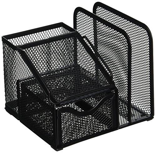 Greenco Organizador de mesa de materiais de escritório com suporte para bloco de notas, preto