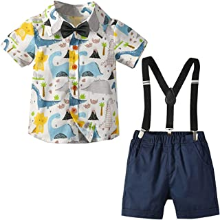 Baby Boys Gentleman Outfits Suits,Infant Short Sleeve Shirt+Bib Pants+Bow Tie Overalls Clothes Set