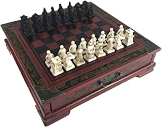 Ireav Retro Terracotta Warriors Chess Set for Kids and Adults Classic Family Chess Board Game with Folding Wooden Chessboard 3D Resin Chess Pieces and Storage Slots