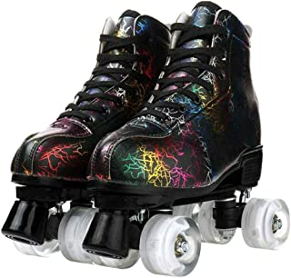 Handsome Skates, Graffiti Skates, High-Top Double-Row Skates, Adjustable Skates With Flashing Wheels,Lightning White White...