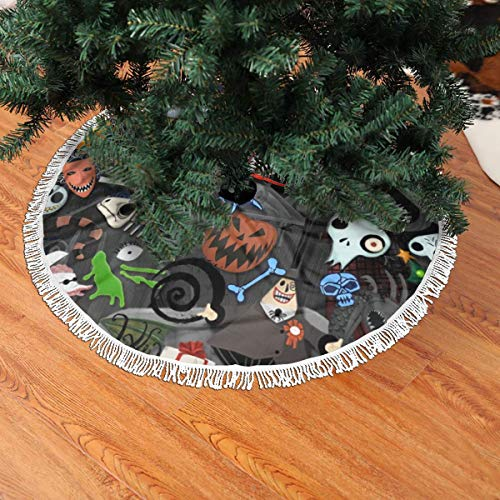 NseldRY Demo Queen The Nightmare Before Christmas Jack & Sally Christmas Tree Skirt 36 inch, for Xmas Holiday Party Supplies Large Tree Mat Decor Ornaments