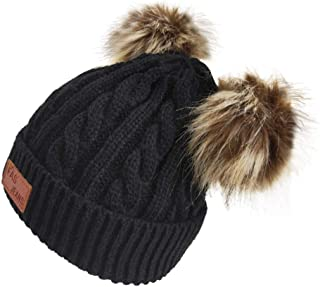 Infant Toddler Beanie Woolen Hat Pure Color Winter Twist Double Pom Pom Wool Knitted Cap for 0-3 Years Old