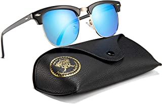 Mens Sunglasses Polarized Retro Classic Semi Rimless Sun Glasses for Women Vintage UV400 Protection With Case