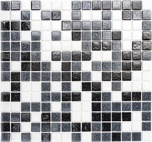 Glasmosaik Mosaikfliese weiss grau anthrazit schwarz für BODEN WAND BAD WC DUSCHE KÜCHE FLIESENSPIEGEL THEKENVERKLEIDUNG BADEWANNENVERKLEIDUNG Mosaikmatte Mosaikplatte - 10 Matten = 1 qm