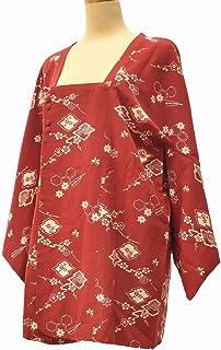 着物 コート 中古 リサイクル 化繊 道行衿 花文様 裄65cm はおり 赤系 裄Mサイズ jj2764c