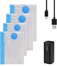 JAZZZNAP Travel Vacuum Storage Bags with Electric Pump, USB Powered Travel Space Saver Bags for Clothes, Pillows, Blankets, Can Be Used as a Air Inflator for Swimming Ring, Travel Pillows