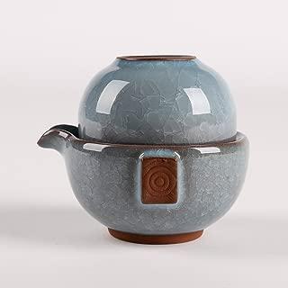 Dehua Porcelain Ice Crack Chinese Kung Fu Teaset,porcelain China Gong Fu Tea Set,1teapot & 1tea Cup,portable Travel Tea Set (Light blue)