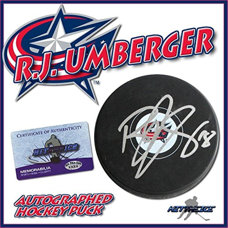 R.J. UMBERGER Signed Columbus bluee Jackets Puck w COA NewAutographed NHL Pucks
