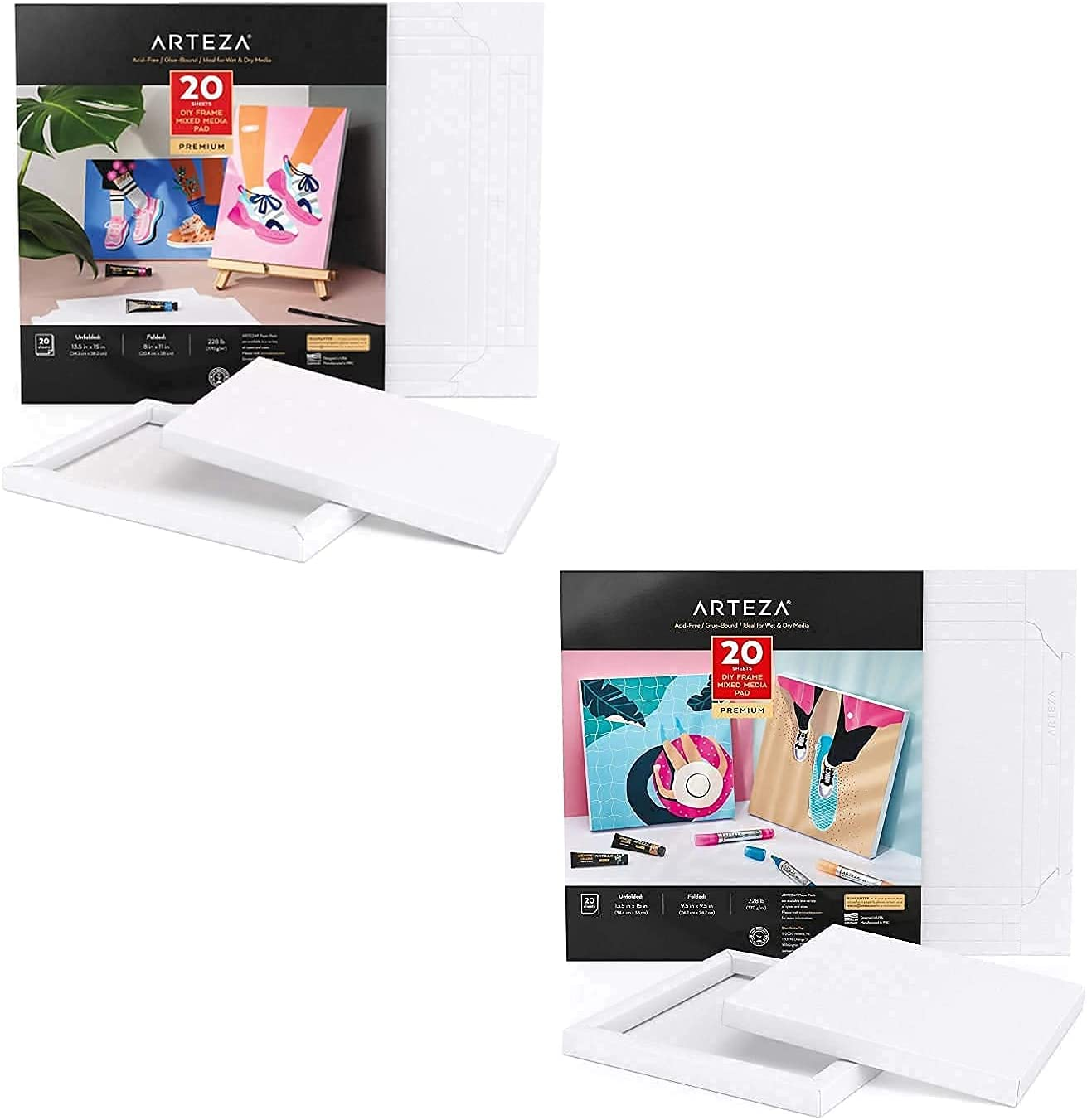 Arteza Mixed Media Paper Canvas Pad Sheets Mi Fort Worth Mall and Oakland Mall 20 Inches 8x11