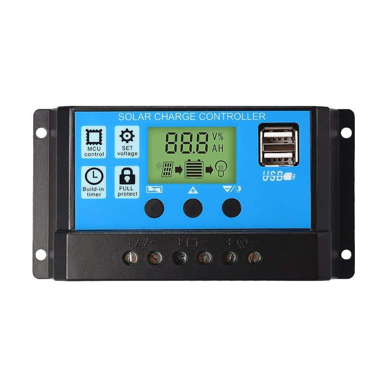 ICQUANZX 12V / 24Vソーラーパネルレギュレータ充電コントローラ30A PWM LCDディスプレイUSBポート