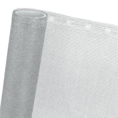 HaGa® Zaunblende (Meterware)- Netz in 1m Breite mit 85% Schattierwirkung - effektiver Sichtschutz für Zaun und Terrasse in silbergrau - Sonnenschutzgewebe Tennisblende Windschutz