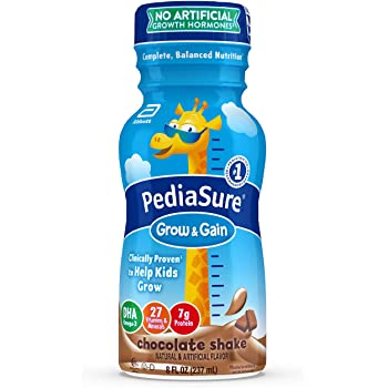 PediaSure Grow & Gain Kids' Nutritional Shake, with Protein, DHA, and Vitamins & Minerals, Chocolate, 8 fl oz, 24-Count