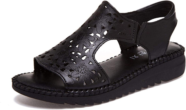 2018 Retro Genuine Leather Women Sandals Cut-Outs Flats Sandals Summer 3 colors