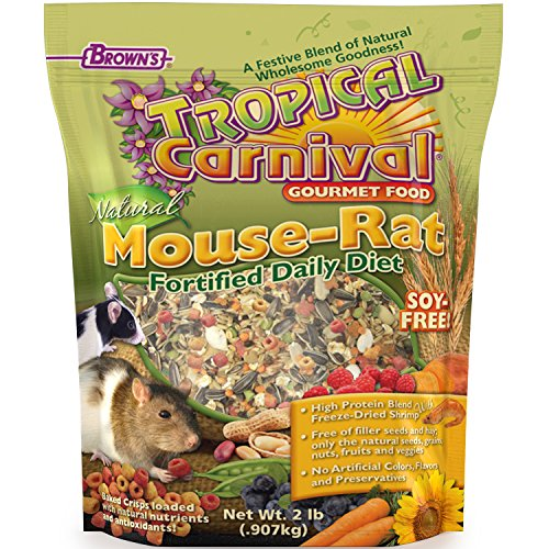 F.M. Brown'S Tropical Carnival Natural Pet Mouse And Rat Food, 2-Lb Bag - Vitamin-Nutrient Fortified Daily Diet, Soy-Free High Protein Blend With Shrimp, No Artificial Colors Or Flavors