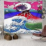 KHKJ Japan Ocean Wave Tapisserie Kopfteil Wandkunst Tagesdecke Wohnheim Tapisserie für Wohnzimmer Schlafzimmer Wohnkultur A21 95x73cm