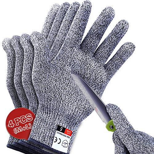 4 PCS (M+L) Cut Resistant Gloves Level 5 Protection for Kitchen, Upgrade Safety Anti Cutting Gloves for Meat Cutting, Wood Carving, Mandolin Slicing